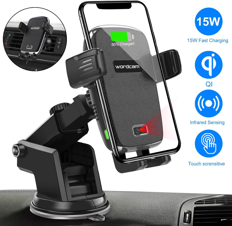 Cargador inalámbrico Coche,Wordcam Auto Clamping 15W / 10W / 7.5W Qi Car Mount Cargador Air Vent Phone Holder Compatible con iPhone 11 Pro XS MAX XR 8 Plus, Samsung S10 S9 S8