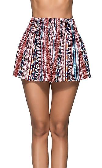 Pantalones Mujer Verano Elastische Taille Estampadas Flor Plisado Shorts Niña Vintage Casual Elegantes Anchos Pants Cómodo Moda Joven Party Pantalon Cortos ...