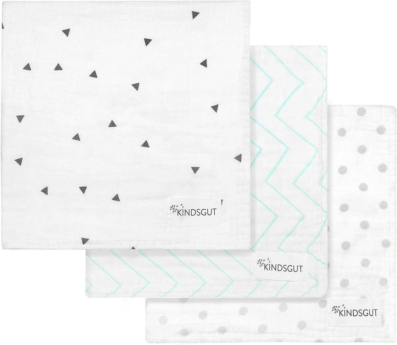 tres ejemplares Kindsgut Pa/ñales de muselina para lactancia