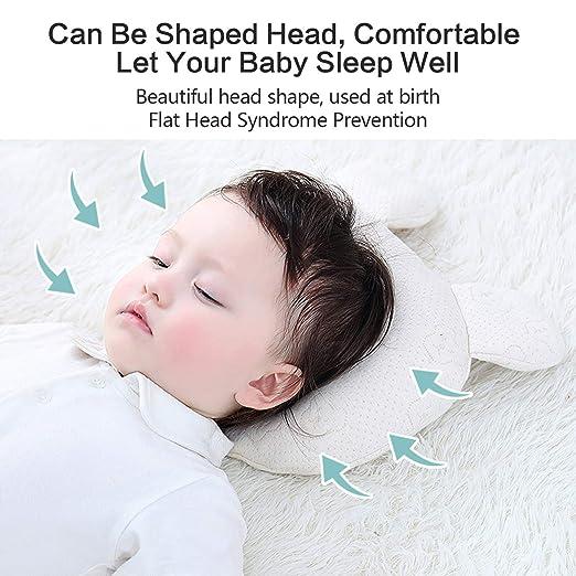 Geschenk Kissen Upchase Baby Kissen Kopfkissen Set 100/% Baumwolle Vorsorge der Plagiozephalie Verhindert das Flacher-Kopf-Syndrom Orthop/ädisches Babykissen Sch/ädelverformung 2 Kissenbez/üge