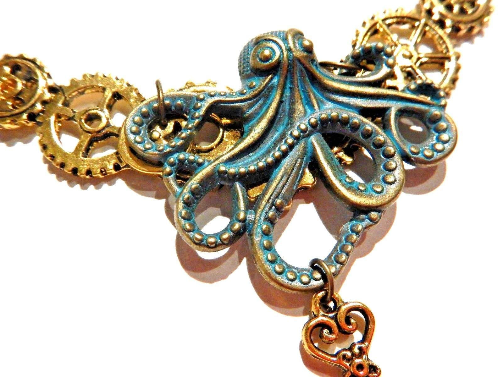 Handmade Steampunk Bronze & Golden Octopus Gears & Skeleton Key Bib Necklace Industrial Clockwork cogs Kraken Pirate 4