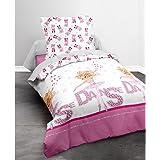 Today 013059 Happy Girl Danse Parure de lit avec Housse de couette/Taie d'oreiller Coton Blanc/Rose 140 x 200 cm