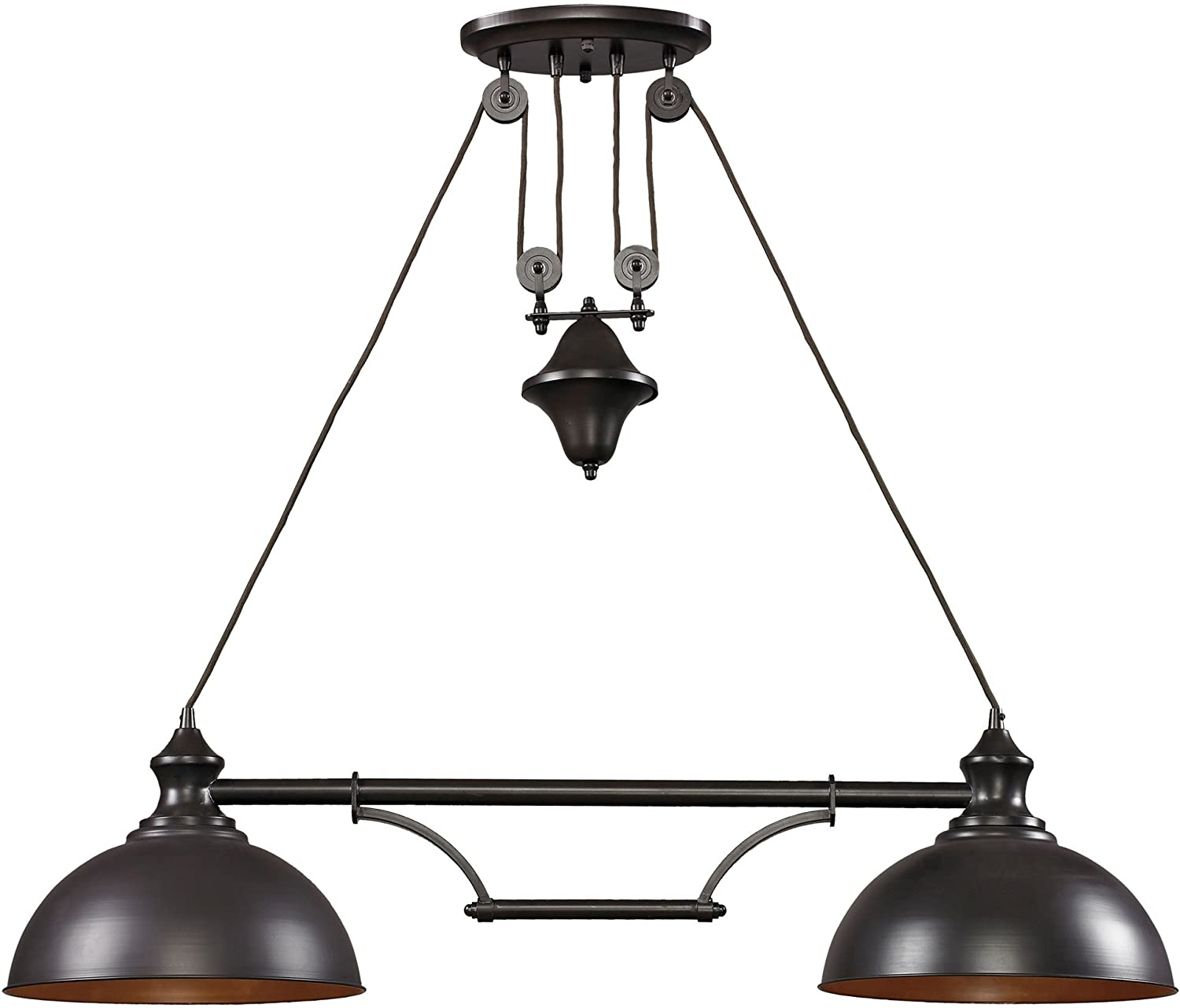 elk 65150 2 44 by 11 inch farmhouse 2 light billiard island