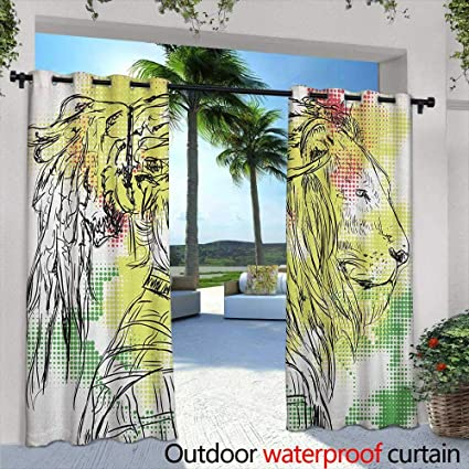 39e16ee22 Marilds Rasta Curtains for Living Room Black and White Sketchy Head of Lion  on Digital Pixels
