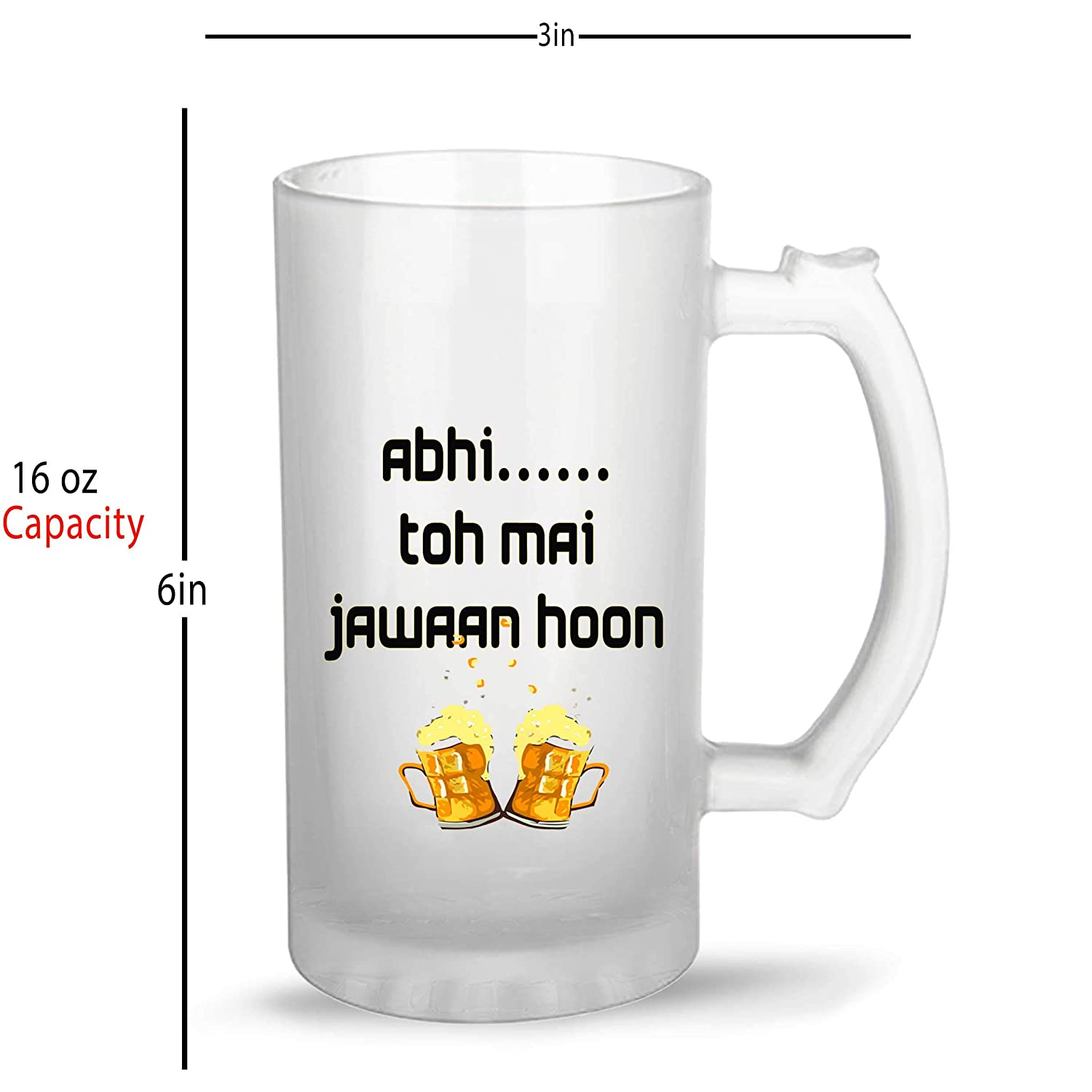 e1234d281 Buy iKraft Funny Quotes Printed Beer Mug- Abhi Toh Mai Jawaan Hoon Printed Beer  Mug for Friends Online at Low Prices in India - Amazon.in