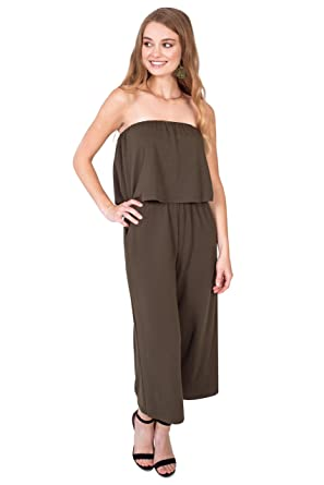 f988c6d154 Amazon.com  Bebop Women s Strapless Popover French Terry Wide Leg Cropped  Jumpsuit  Clothing
