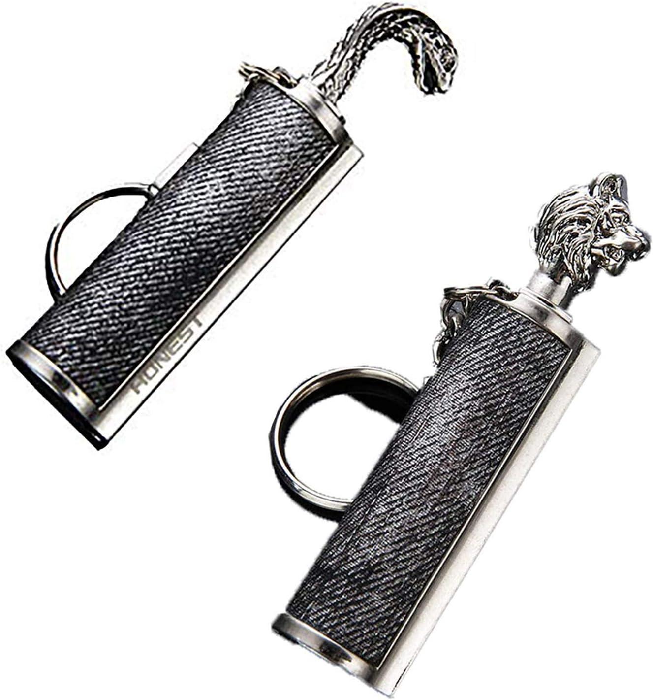 2Pcs Dragón's Breath Immortal Lighter,Llavero De Metal Impermeable Flint Match Stick Kerosene Refillable Starter,Herramienta De Supervivencia De Inicio De Fuego De Flint Reutilizable