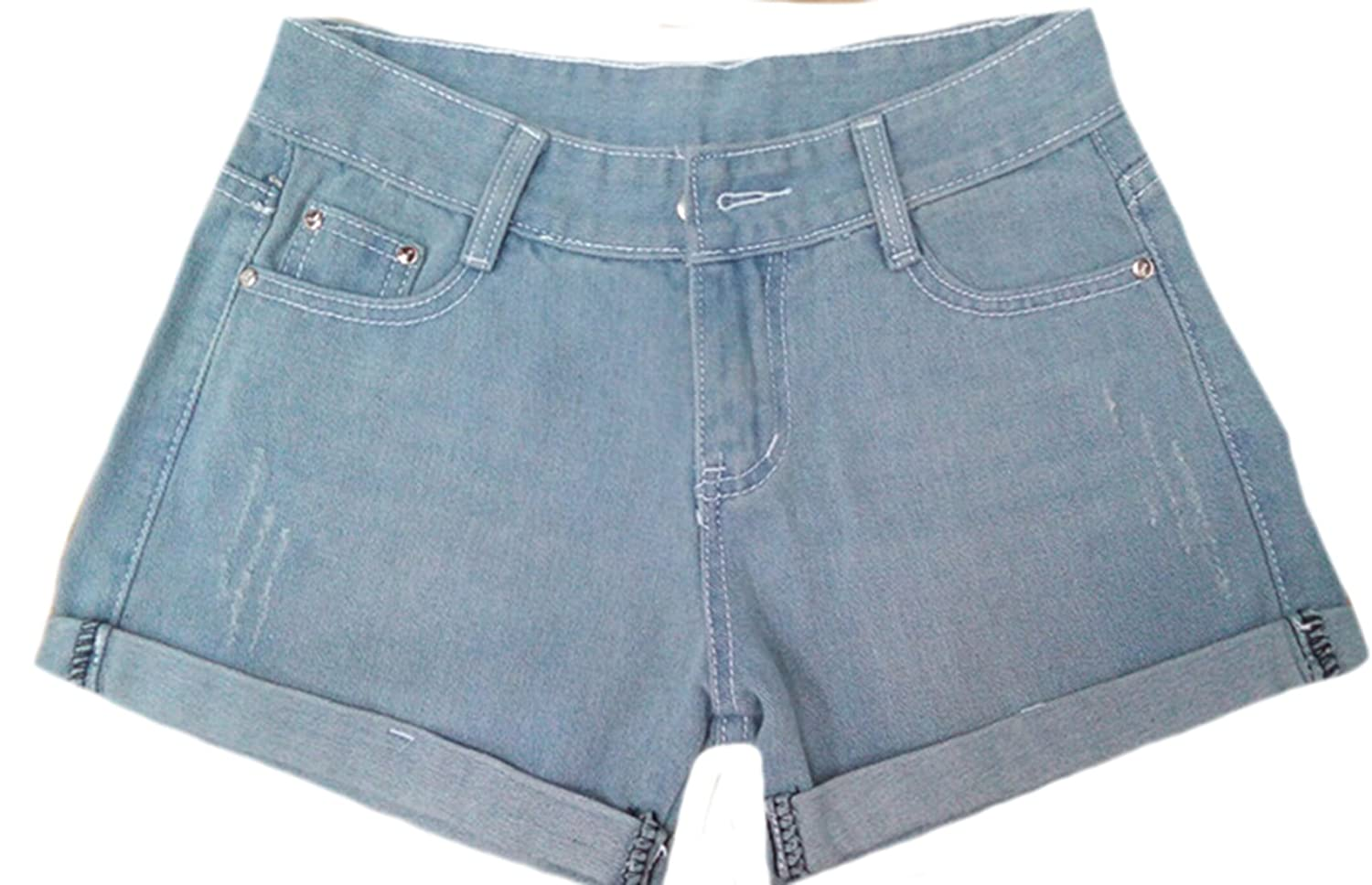 MLG Womens Basic Crimping Pockets Blue Casual Jeans Shorts