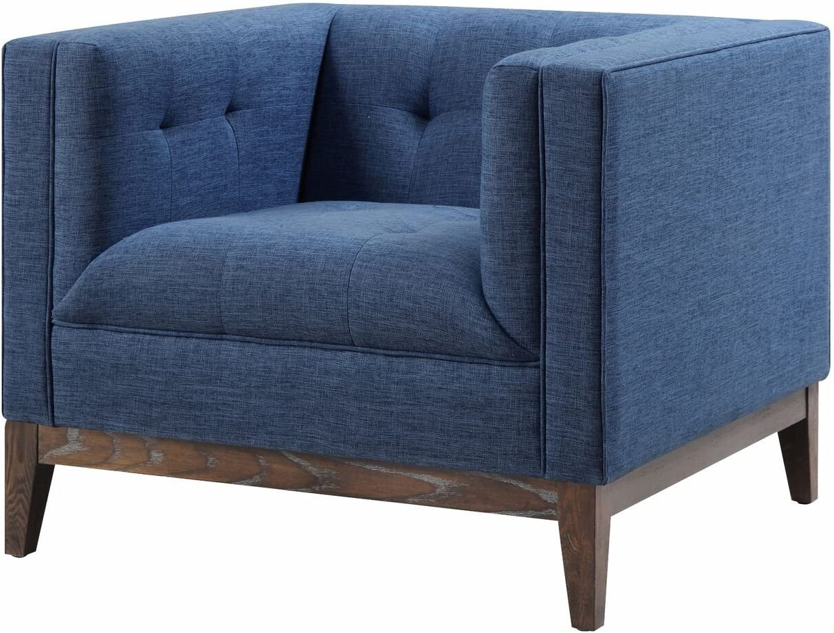 Tov Furniture The Gavin Collection Mid-Century Linen Fabric Upholstered Wood Living Room Accent Arm Chair