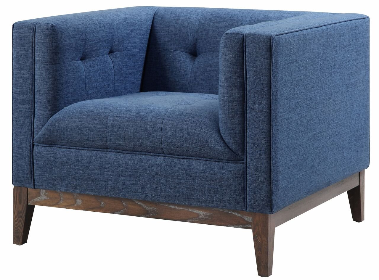 Tov Furniture The Gavin Collection Mid-Century Linen Fabric Upholstered Wood Living Room Accent Arm Chair, Blue