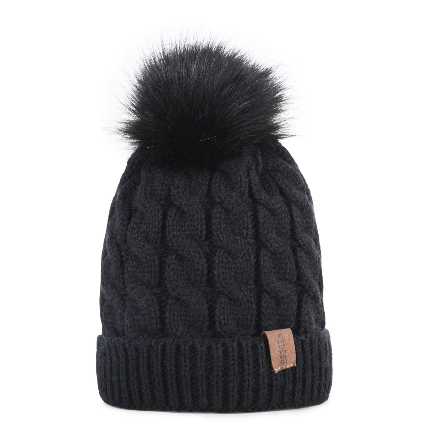 Kids Winter Warm Fleece Lined Hat, Baby Toddler Children's Beanie Pom Pom Knit Cap for Girls and Boys by REDESS (Black)