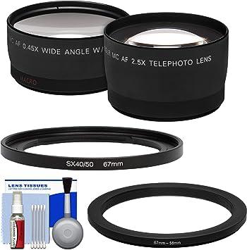 Wide Lens Filter Adapter FADC67A Bundle for Canon Powershot SX50 HS Tele Lens