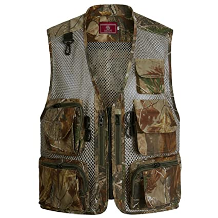 58a1da64 Ziker Men's Mesh Breathable Openwork Camouflage Journalist Photographer  Hunting Vest Waistcoat Jacket Coat (Brown,. Roll over image to ...