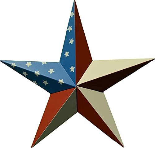 AMISH WARES 24 Inch Solid American Americana Flag Barn Star Made with Galvanized Metal to Prevent Rusting. American Handcrafted – Made in The USA
