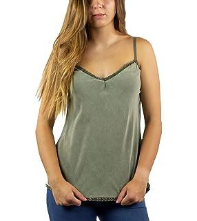 19daea8fadf Mer s Style - Top Camiseta con Encaje y Tirantes para Mujer
