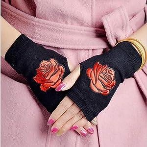 On Sale Half-Finger Gloves, Short-Cut Winter Fingers, Durable Anti-Freezing Fingers, Office Fingers, no Fingers. Gloves Female Half Finger Knit Gloves Flowers Home Leisure Gloves 1pair