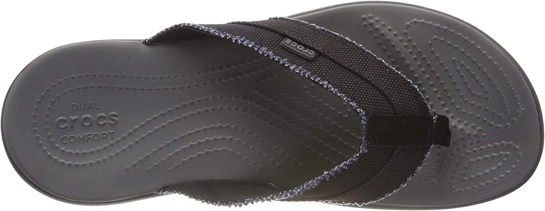 Crocs Men's Santa Cruz Canvas Flip Flop Black Black Slate Grey