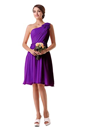 EnjoyBridal® Womens One Shoulder Ruffles Short Party Bridesmaid Dresses Chiffon Formal Skirt UK22