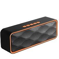 CIC Speaker Bluetooth 4.2 Sem Fio Portátil Alto falante Ao ar livre com áudio Estéreo HD e Bass slot para cartão tf, Laranja