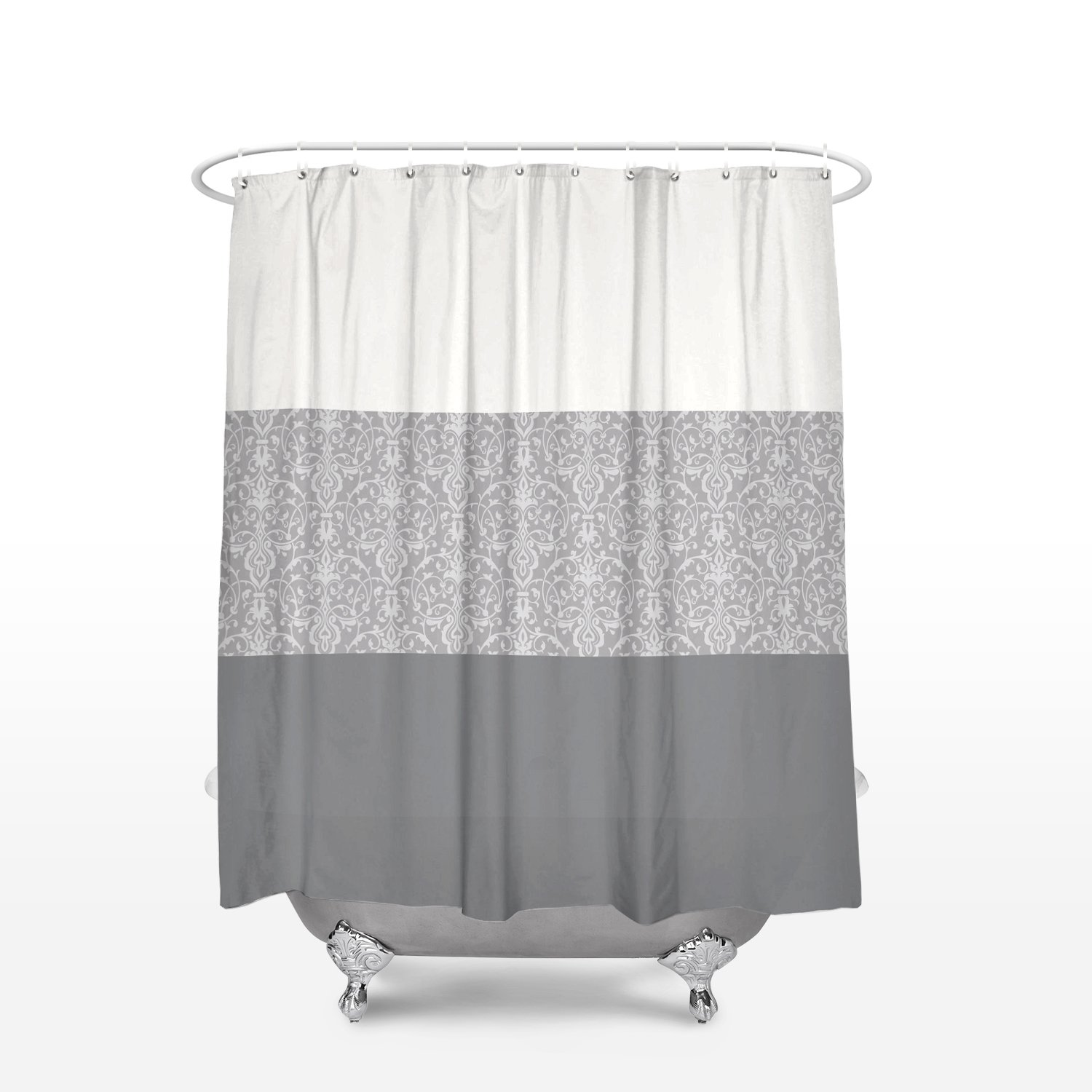 Classic Design Shower Curtain Seafoam Damask Print Waterproof Polyester Shower Curtains Hooks Bathroom 72x78inch Washable