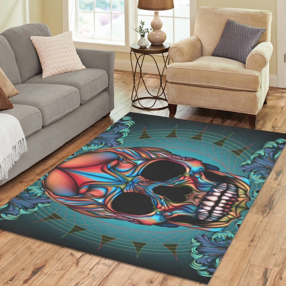 InterestPrint Floor Rugs Mat Custom Colorful Skull Area Rugs Modern Carpet for Home Dining Room Living Room Decoration Size 7'x5' by Area Rugs