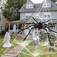Aytai 200″ Halloween Spider Web Decor Outdoor 59″ Giant Spider with LED Eyes, Scary Fake Spider and Huge Spider Webs Halloween Decorations for Home Party Yard Haunted House Decor