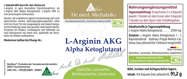 L-Arginine AAKG del Doctor michalzik - sin additifs: Amazon.es: Salud y cuidado personal