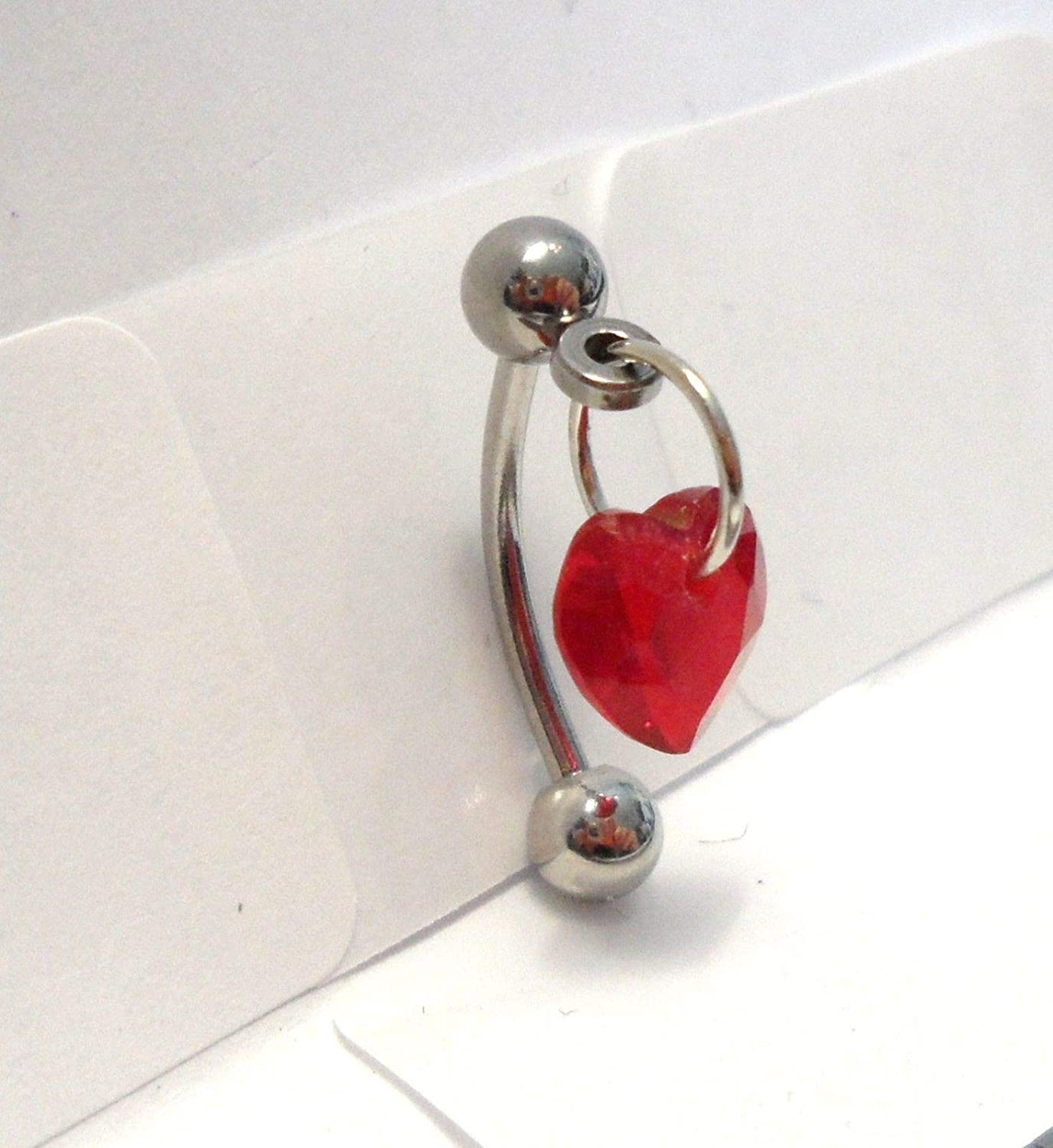 Amazon.com: Red Heart Crystal Dangle Barbell Bar VCH Clit Clitoral Hood  Ring 16 Gauge 16g