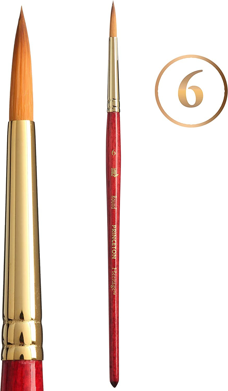 Princeton Heritage Series 4050 Round Synthetic Sable Size 24 Golden Taklon Brush for Watercolor /& Acrylic