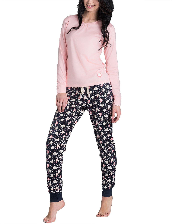 Rossli SAL-PY032 Pijama De Manga Larga/ Pantalón Largo Bonito Y Confortable - Hecho En UE, rosa, XL: Amazon.es: Ropa y accesorios