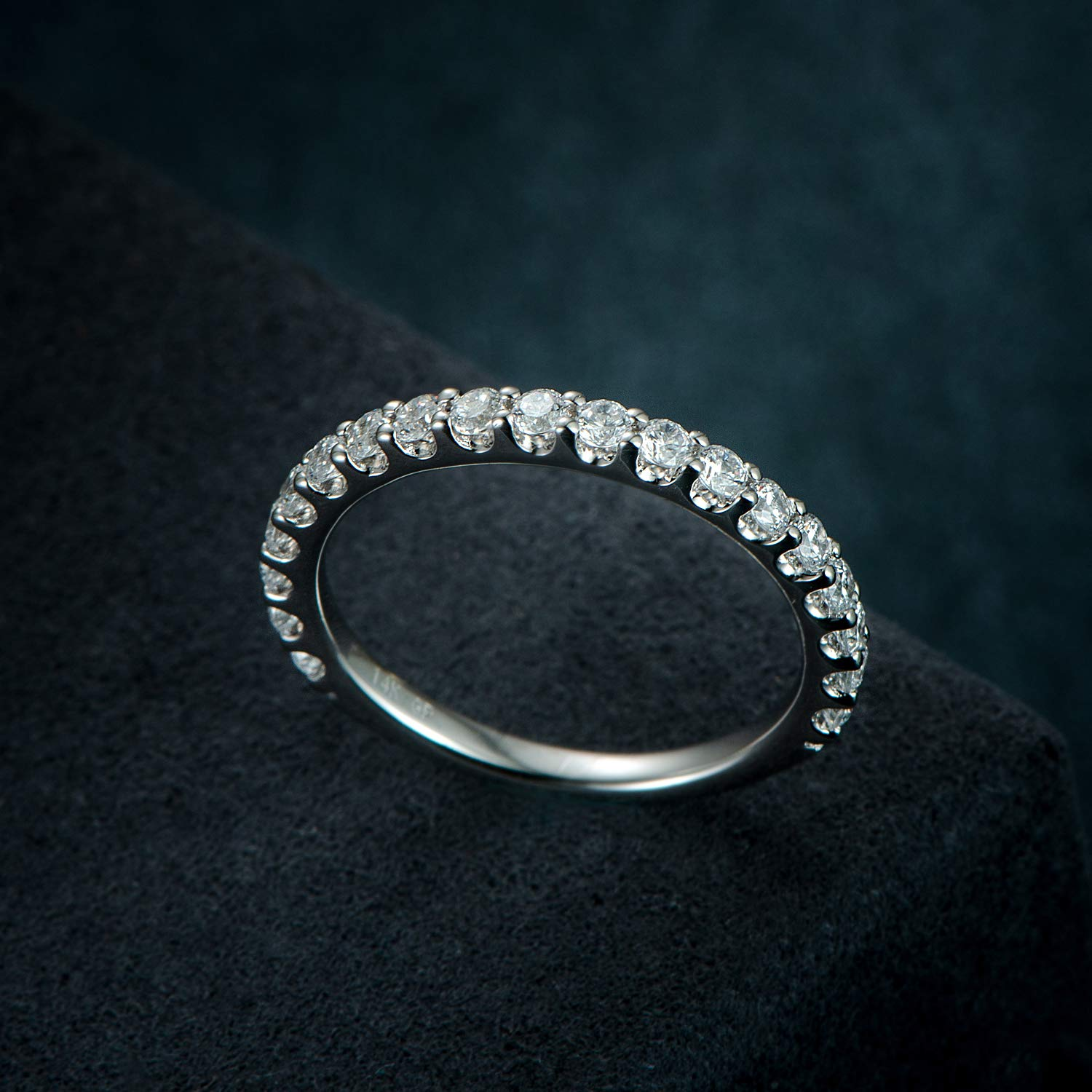 3mm Rhodium Plated Sterling Silver Simulated Diamond Cubic Zirconia CZ Half Eternity Wedding Ring (9) by Hafeez Center (Image #6)