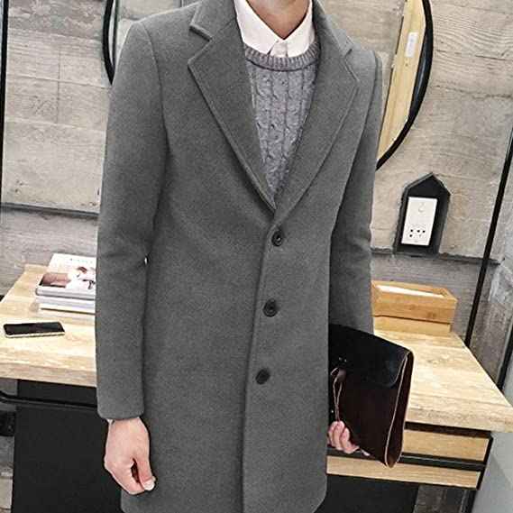 ... de Hombre Formal Chaqueta Invierno con Bolsillo Single Breasted Figuring Outwear Wool Jacket Camisa Casual Tops Pullover: Amazon.es: Ropa y accesorios