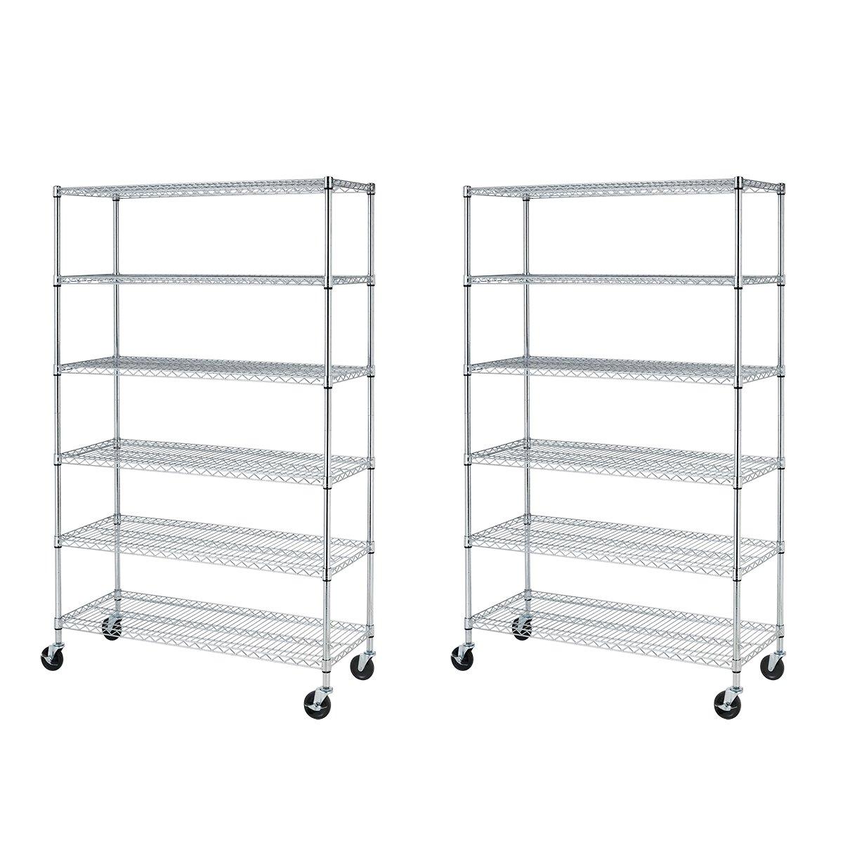 82''x48''x18'' 6 Tier Layer Shelf Adjustable Wire Metal Shelving Rack,Chrome (2)