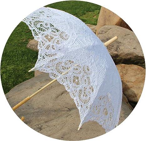 Sombrilla de algodón con mango de encaje para sombrillas de boda Blanco blanco: Amazon.es: Hogar