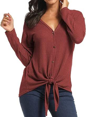 imesrun Womens Waffle Knit Tops Long Sleeve Tunic Button Up Blouse Lightweight Casual Sweater Shirts