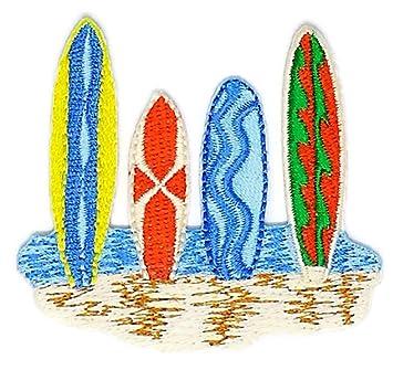 Tabla de surf playa Kid Niños Hippie Retro Biker chaqueta camiseta chaleco Patch coser hierro en