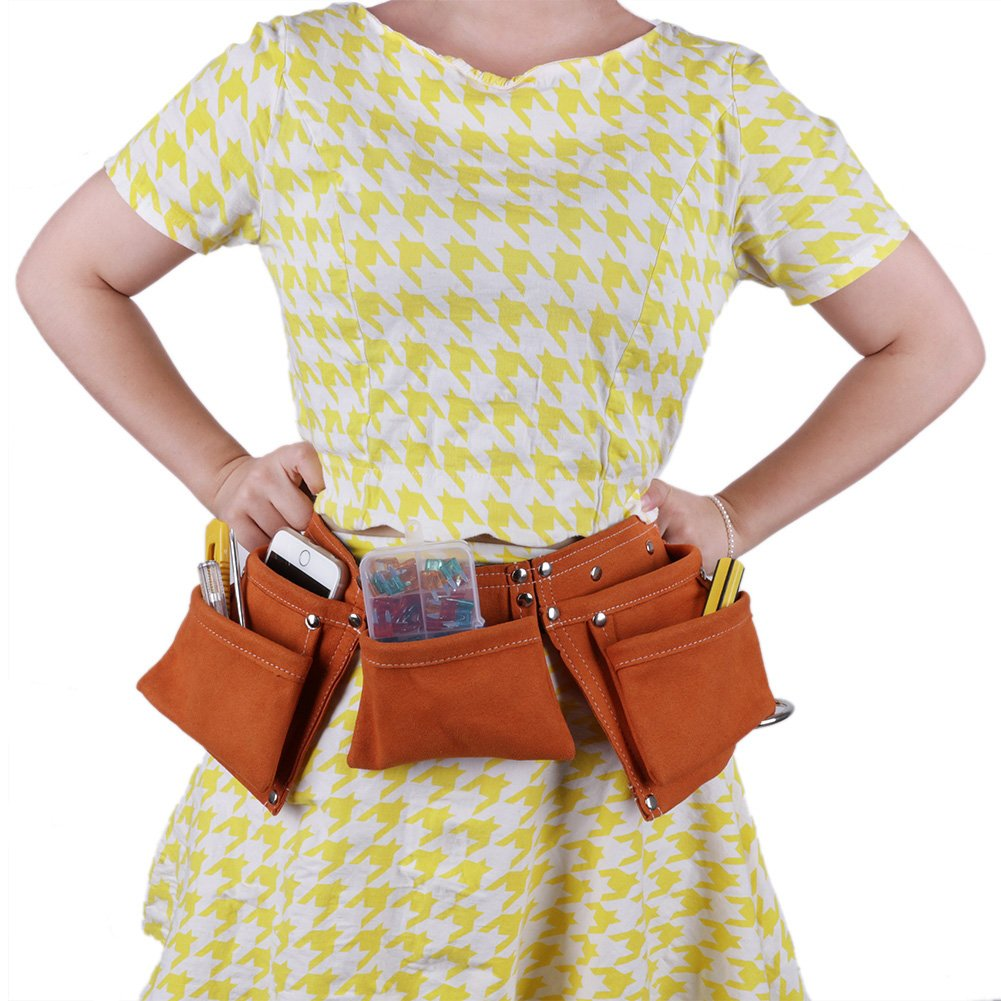 Shopline Adjustable Kids Tool Belt, Super Fiber Child Pouch Tool for Heavy Projects Costume Dress Up (Yellow) by Shopline (Image #2)