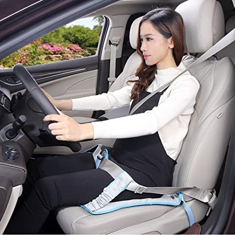 BIGWING Style-Cinturón Embarazada para Asiento de automóvil a Cojín Ajustable Arneses de seguridad, Azúl