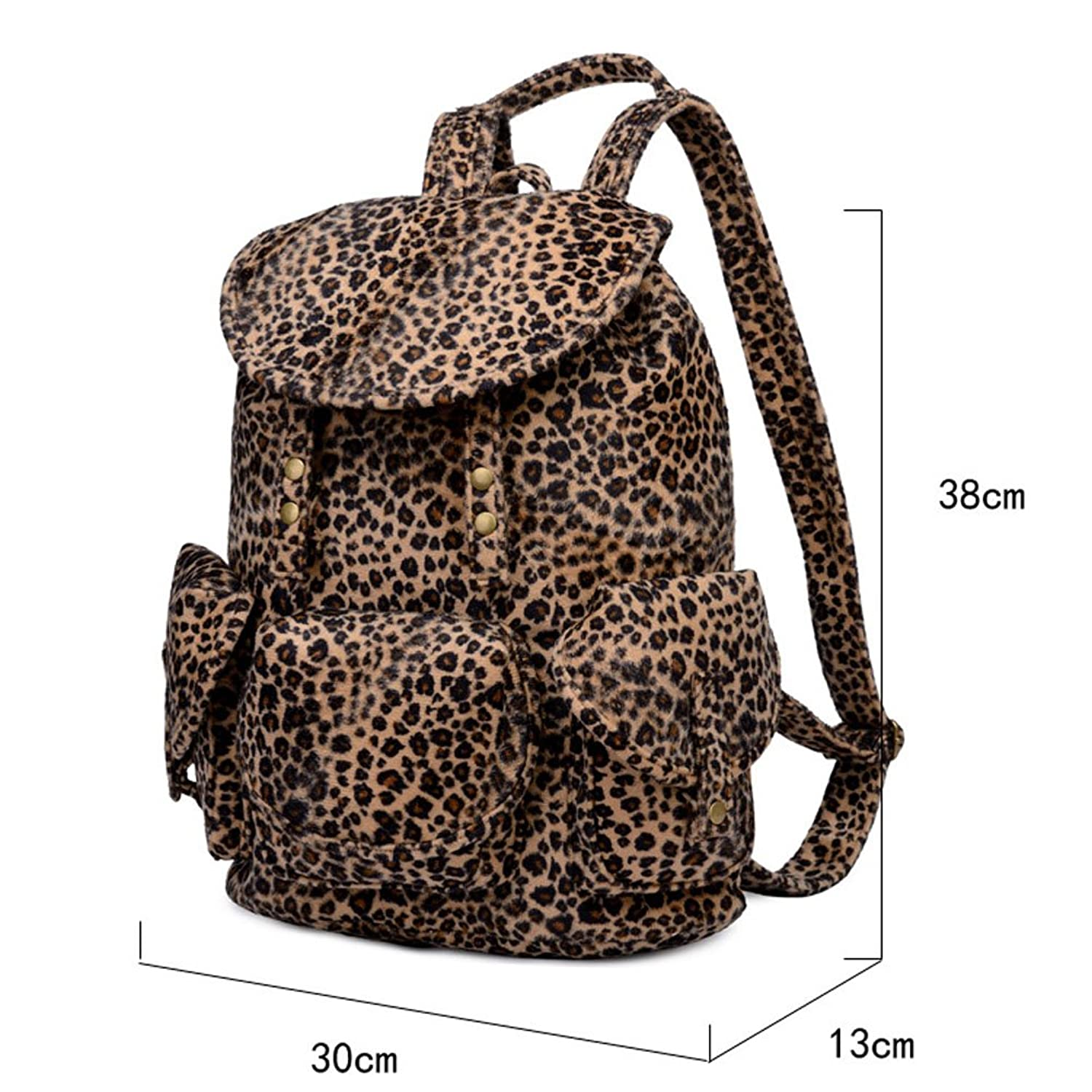 Firstsight Fashion Leopard Plush Backpack School Laptop Bag for Teens Girl Student