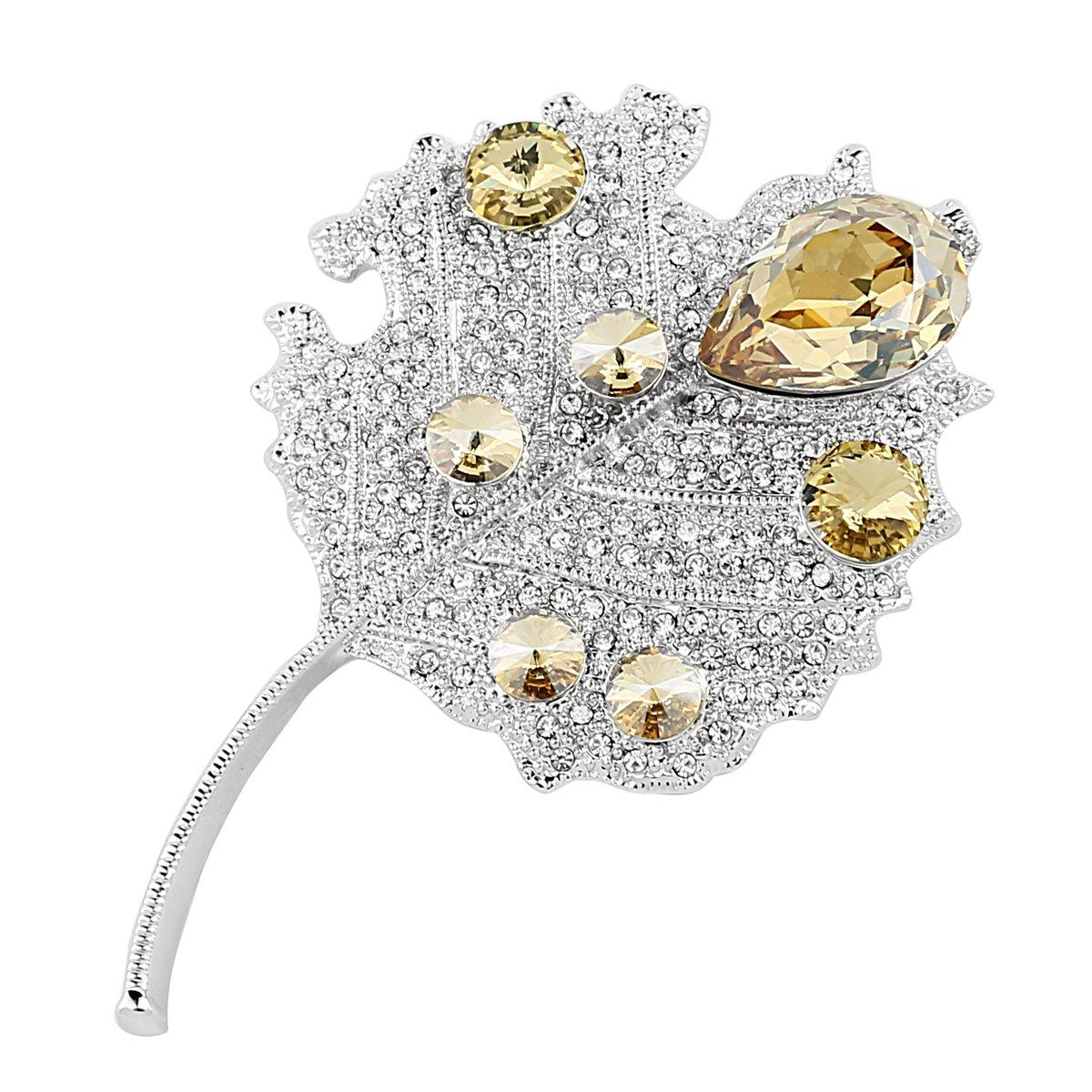 Womens Girls Rhinestone Crystal Maple Leaf Brooch Pins Valentine's Day Gifts
