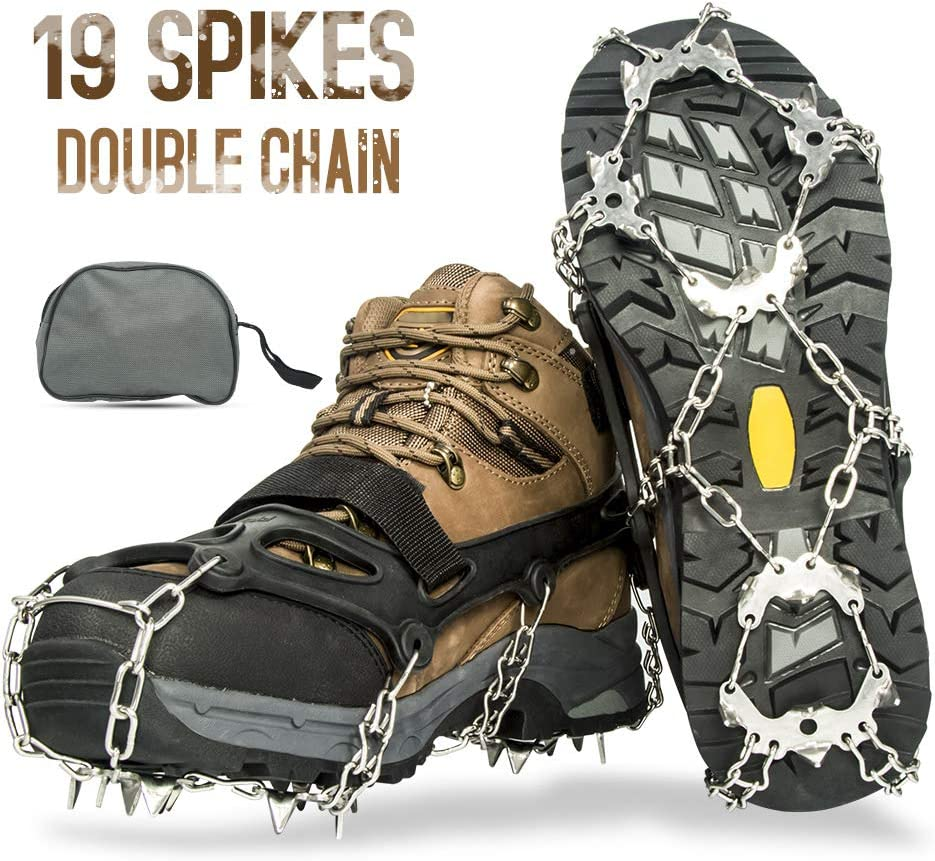 Aoriente Crampons, Ice Fishing, Ice Cleats for Men Women Ice Snow Grips Shoe Cleats with 19 Spikes Traction Cleats for Walking and Hiking on Ice and Snow