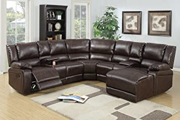 5pcs Brown Bonded Leather Reclining Sofa Set Includes a Push-back Chaise