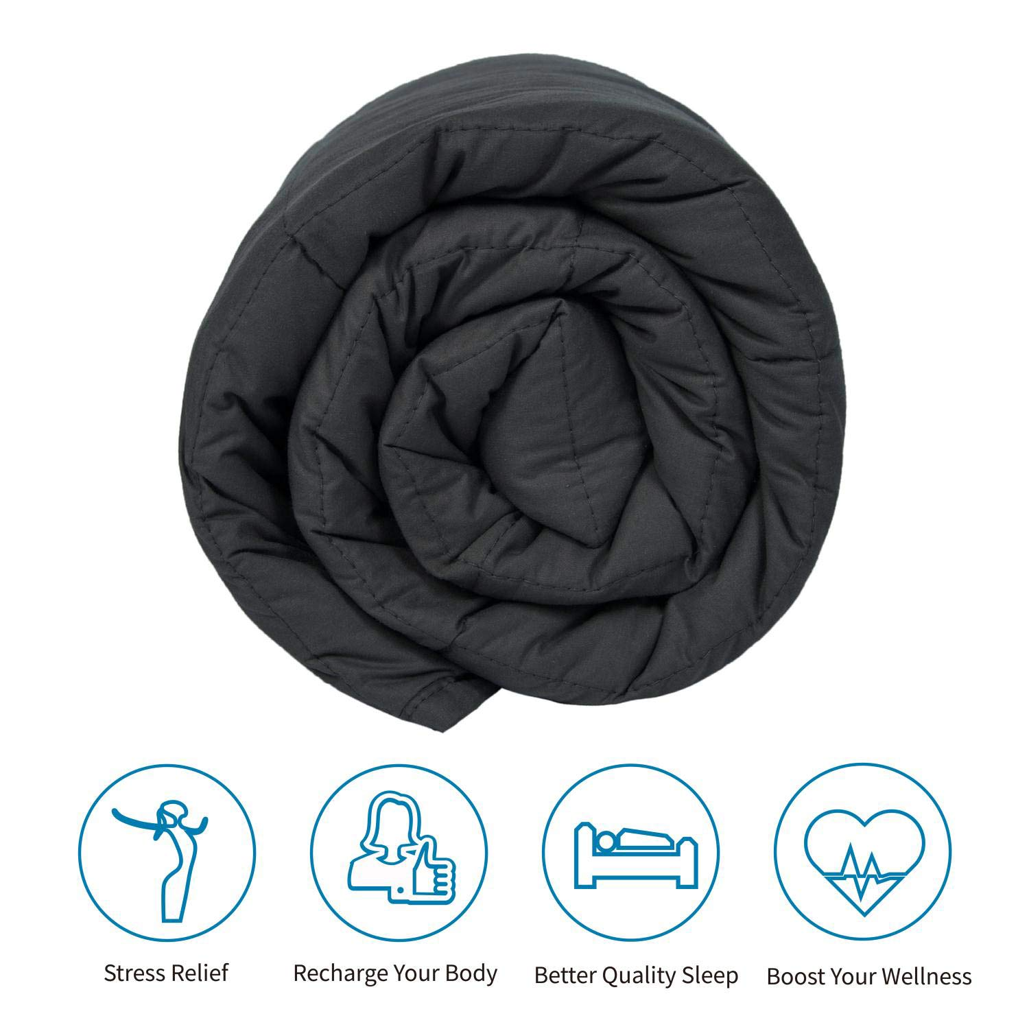 Weighted Blanket   60x80'' 15Lb  100% Cotton Material with Glass Beads   2.0 Plush, Breathable Adults Heavy Blanket   Queen Size Beds(Dark Grey) softan