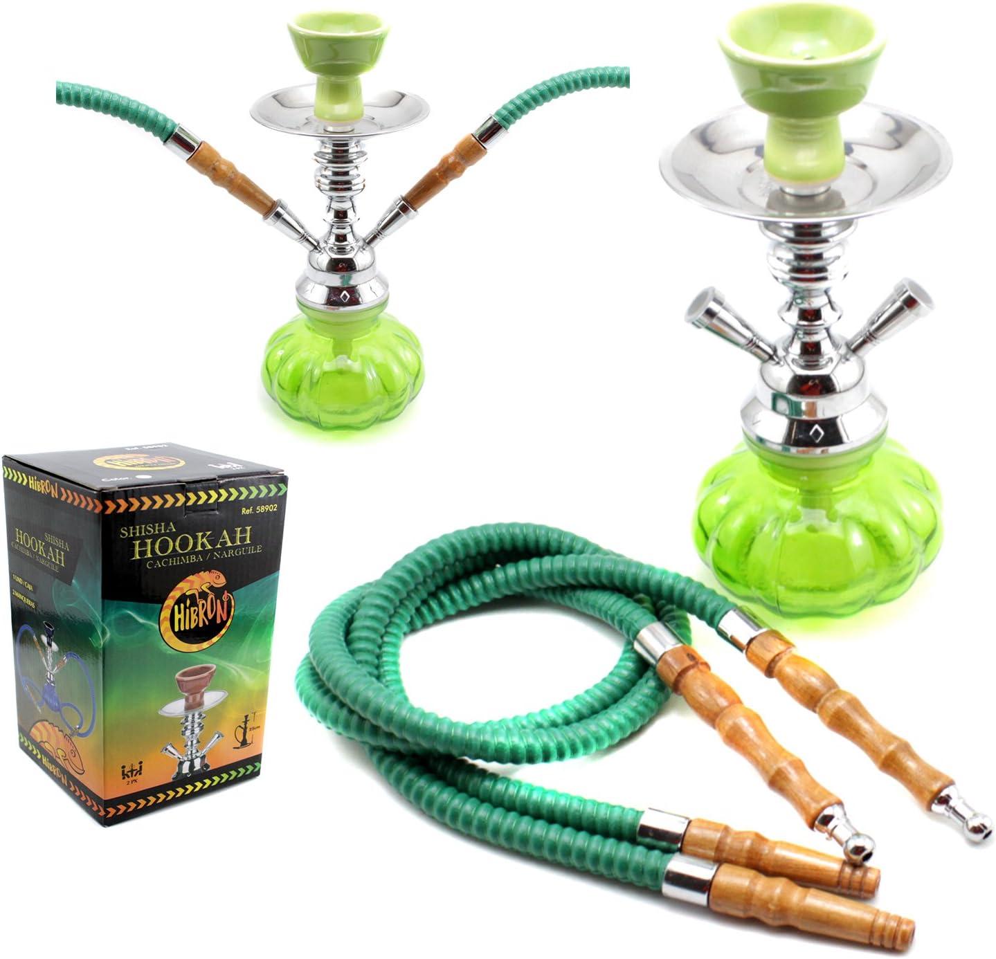 HIBRON® Cachimba shisha hookha pequeña 25cm 2 mangueras, kit de iniciación completa premium (verde)