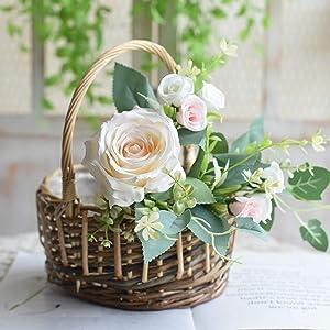 BHSHUXI Wedding Flower Girl Basket Woven Plant Baskets,Rattan Weave Portable Flower Basket for Home Garden Decor