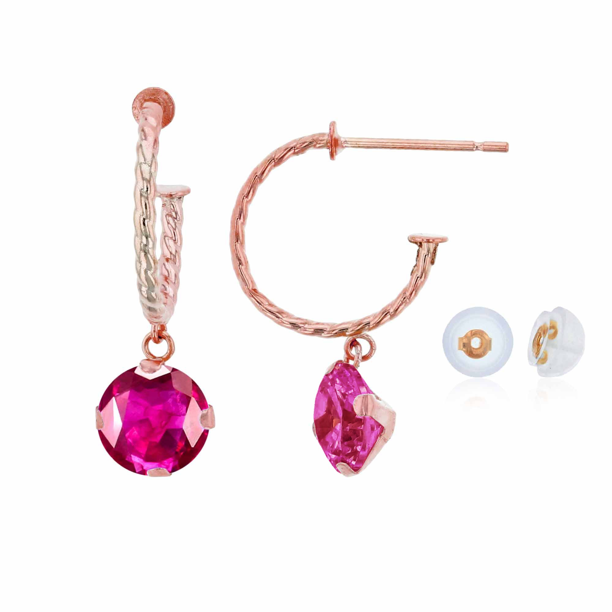 10K Rose Gold 12mm Rope Half-Hoop with 6mm Round Glass Filled Ruby Martini Drop Earring with Silicone Back