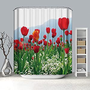 """BH Home & Linen Fancy Garden Rose Fabric Shower Curtain 70"""" x 72 Made with 100% Polyester. (Sophia Flower)"""
