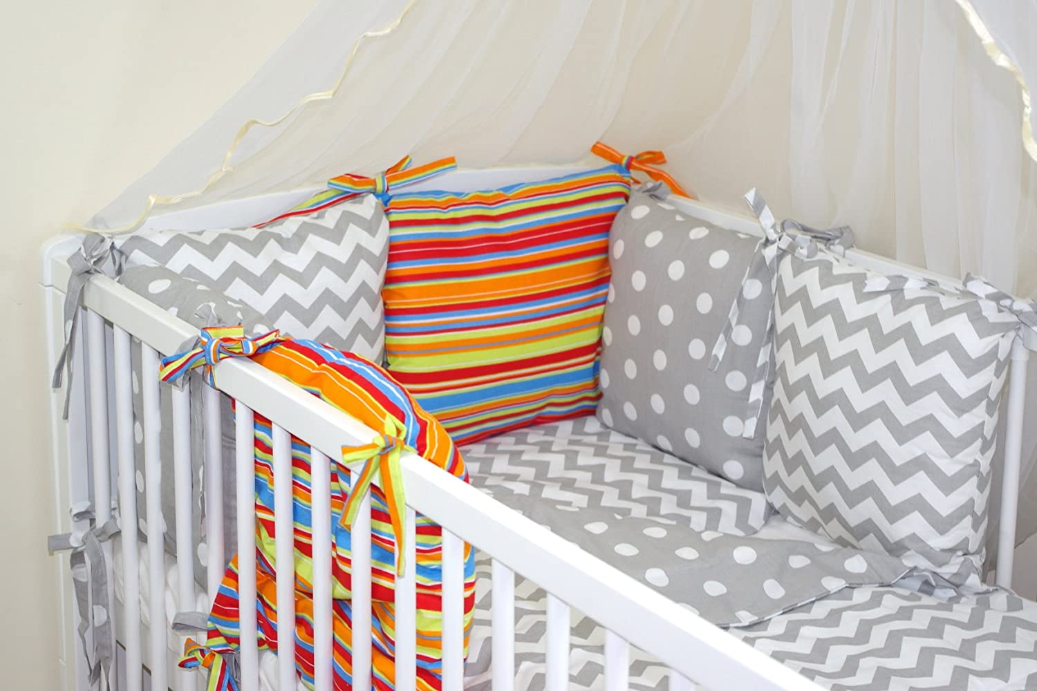 COTBED with PILLOW BUMPER 28-54 COLOURS NEW 8 PCS BABY BEDDING SET FOR COT 50
