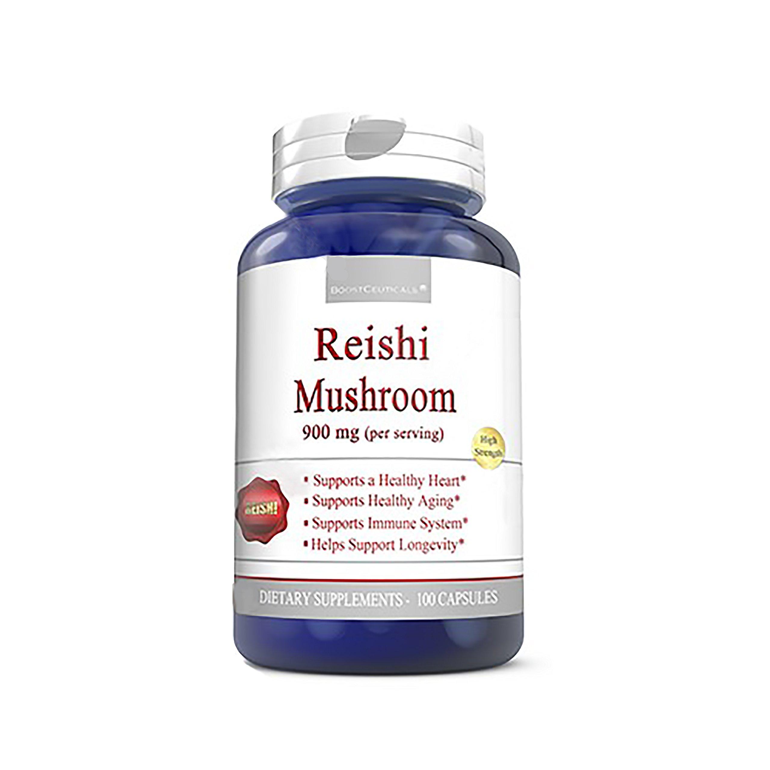 Reishi 900mg 100 Mushroom Supplement Capsules - Immune System Booster Reishi Mushroom by BoostCeuticals