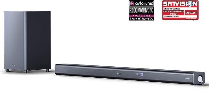 SHARP HT-SBW800, 5.1.2 Dolby Atmos Engine - Barra de Sonido con Subwoofer inalámbrico, Bluetooth, Sonido Surround 3D y experiencia 4K, HDMI ARC/CEC y Potencia Total de 570 W, Color Negro: Sharp: Amazon.es: